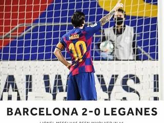 梅西联赛24场比赛,进21球14次助攻参与35球跃居五大联赛榜首