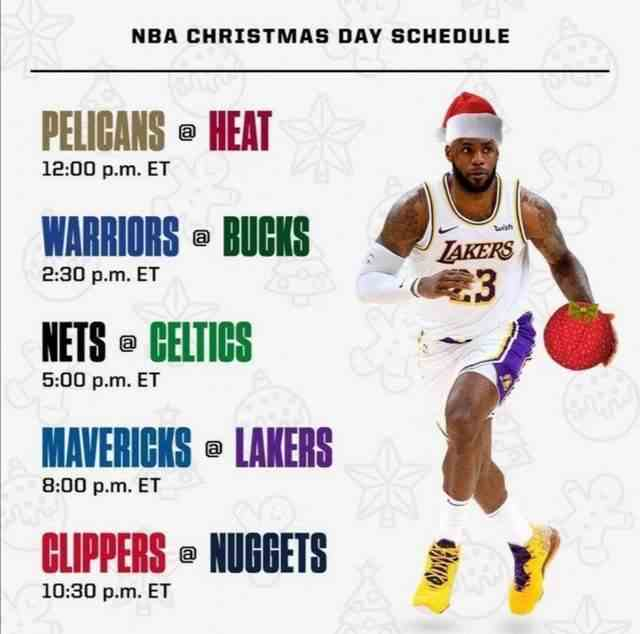 NBA圣诞大战赛程出炉!5场比赛,湖人+快船+勇士+雄鹿都有出战