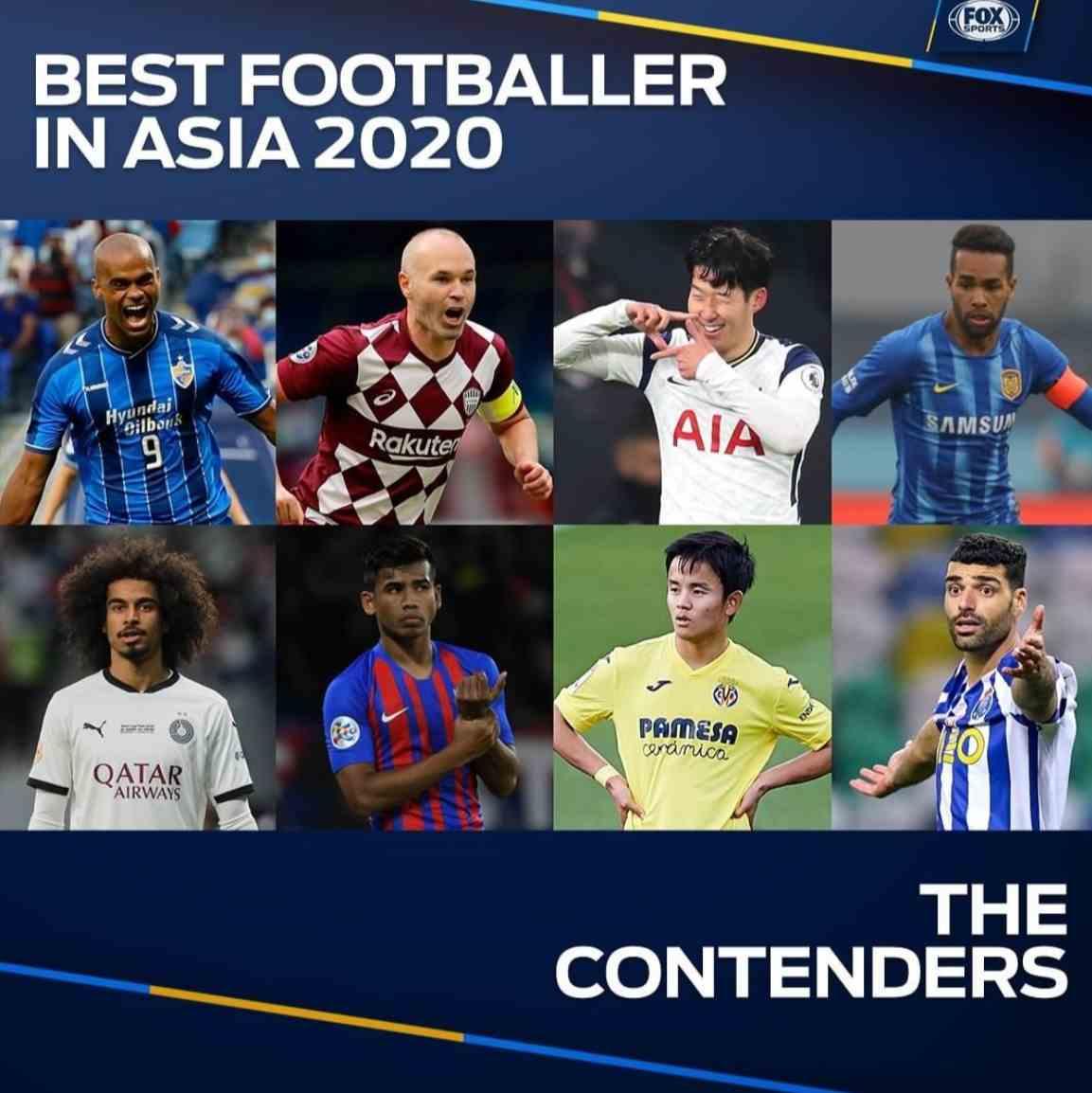 特谢拉获提名亚洲年度最佳足球运动员 孙兴慜伊涅斯塔同入选