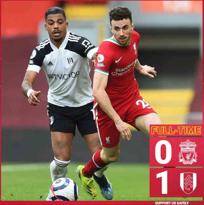 英超-利物浦0-1富勒姆,遭遇英超主场六连败