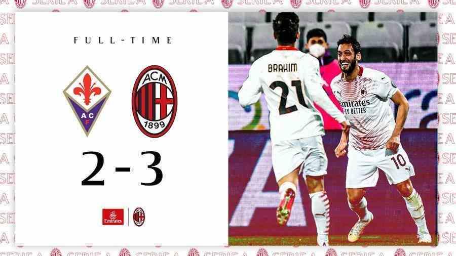 意甲-佛罗伦萨2-3米兰,克亚尔助攻梅开二度