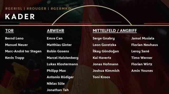 德国国家队最新名单:两大德甲年轻新星首次获征召入伍!