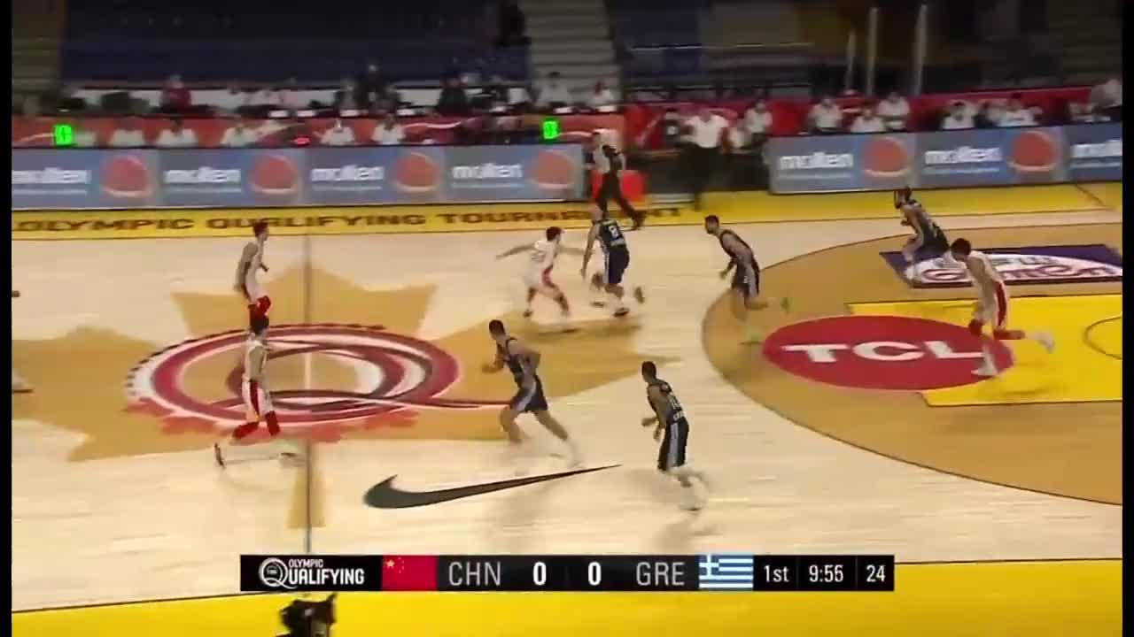 07月02日奥运男篮落选赛 中国男篮vs希腊男篮 第一节 录像